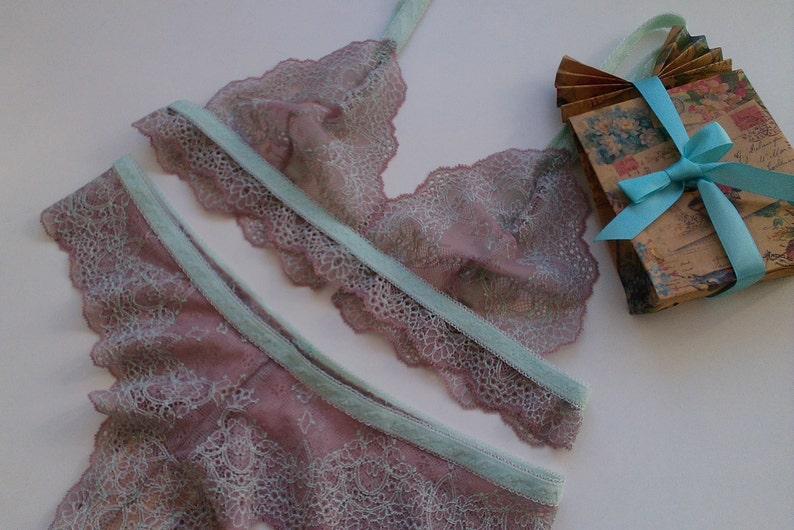 39e4dd8656 Blush mint lace lingerie set sexy lace bralette sheer