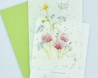 Watercolor flowers seeded paper card