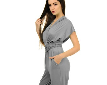 5c4c7b152ac2 Gray wedding convertible infinity bridesmaid jumpsuit evening wrap rompers  for women