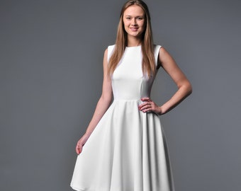 c55b8e2aa35 Classic white full circle dress