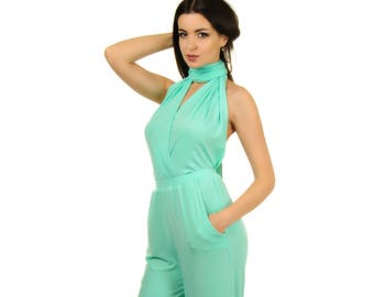 63b3bef40651 Mint bridesmaids jumpsuit Convertible infinity wrap jumpsuit backless  overall sexy jumpsuit Wedding jump suit