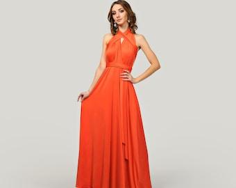 f9ead7577 Burnt orange maxi bridesmaid dress, Prom dress, Infinity dress, Convertible  dress, Wrap dress, Cocktail evening gown