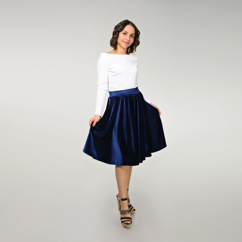 52f91a786 Circle velvet skirt for women dark blue flared skirt navy | Etsy