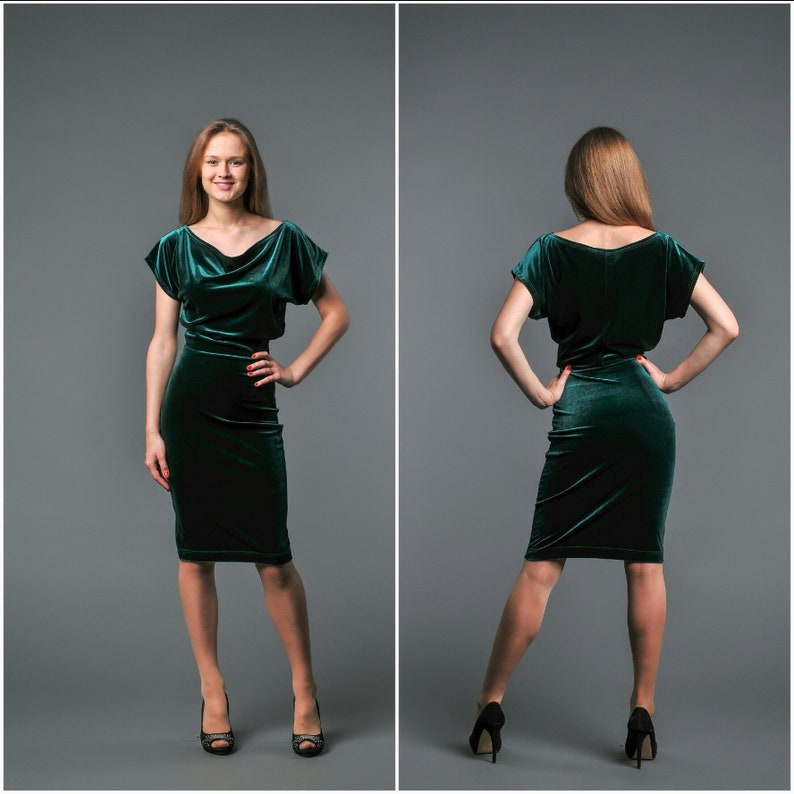 Emerald Velvet Dress Knee Length Draped Neck Mother Bride Dress Wedding Guest Dress Green Velvet Dress For Womens