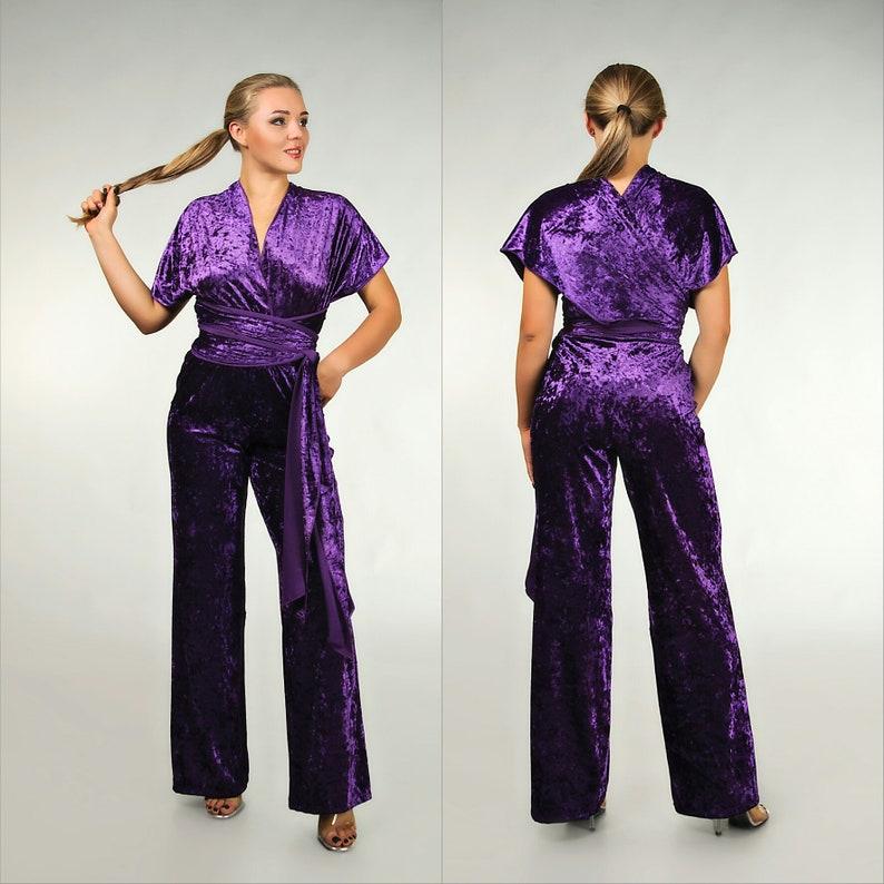 Wedding violet velvet infinity jumpsuit wrap bridesmaid