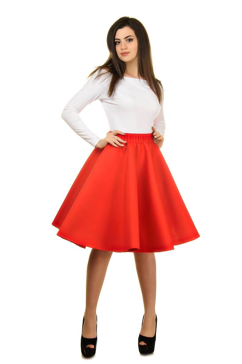 6ffa3e4065e1 Jupe en néoprène rouge jupe taille haute jupe évasée jupe