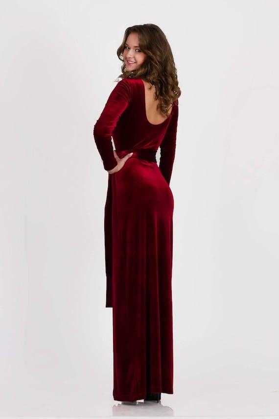 Long velvet dress, long sleeve bridesmaid dresses, mother bride dress,  wedding guest dress, velvet evening dress