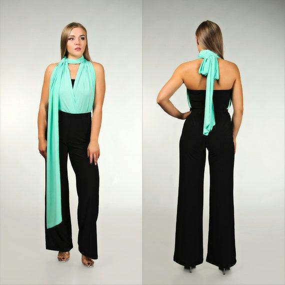 a2fda560a8ff Black and mint wedding jumpsuit infinity pantsuit wrap
