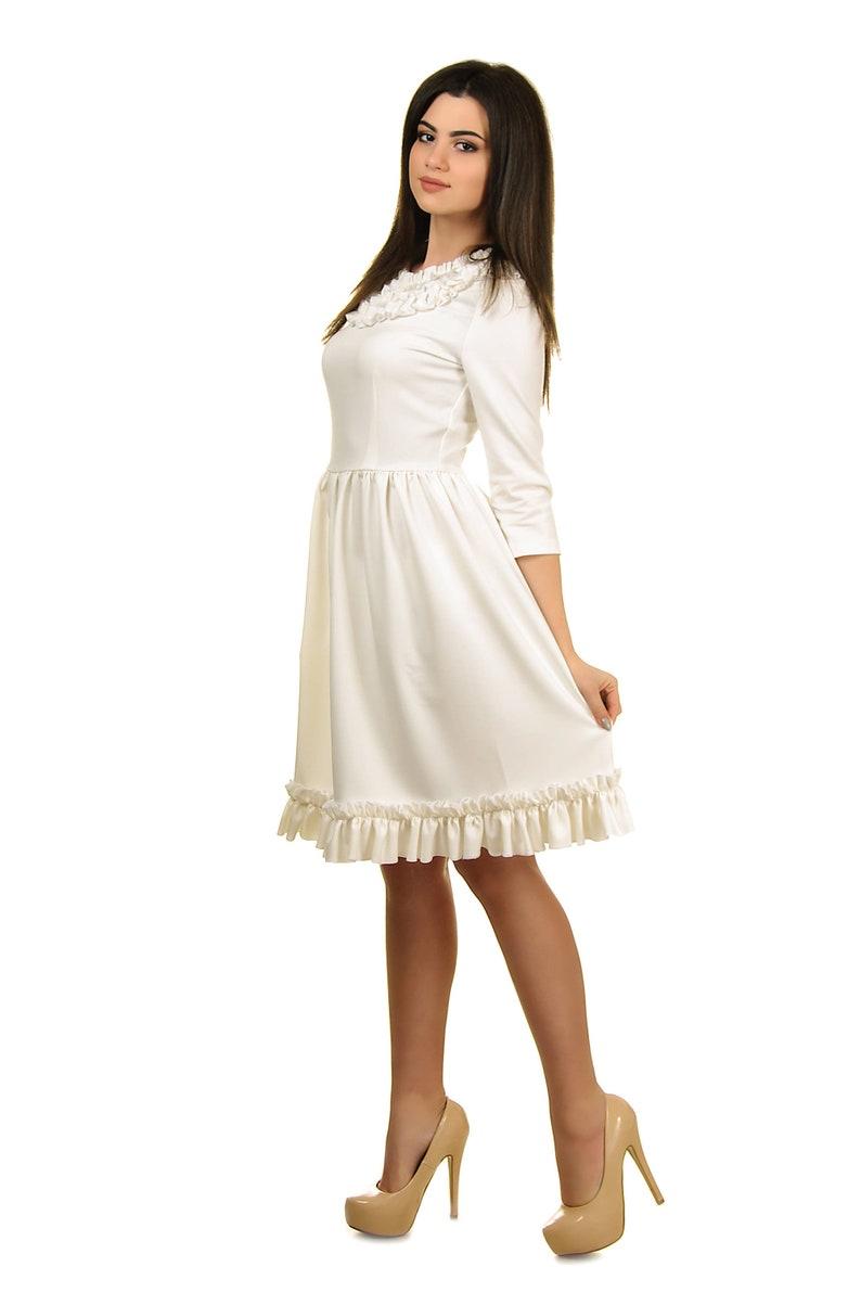 Ivory Dress Wedding Guest Dress Long Sleeve Dress Short Simple Wedding Dress Short Bridesmaid Ruffle Dress Knee Length Dress