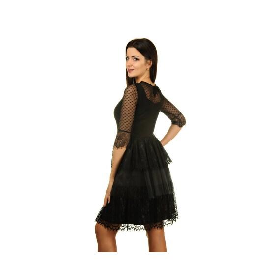 Black Tulle Dress Women Lace Dress Knee Length Dress Short Formal Gown Wedding Guest Dress