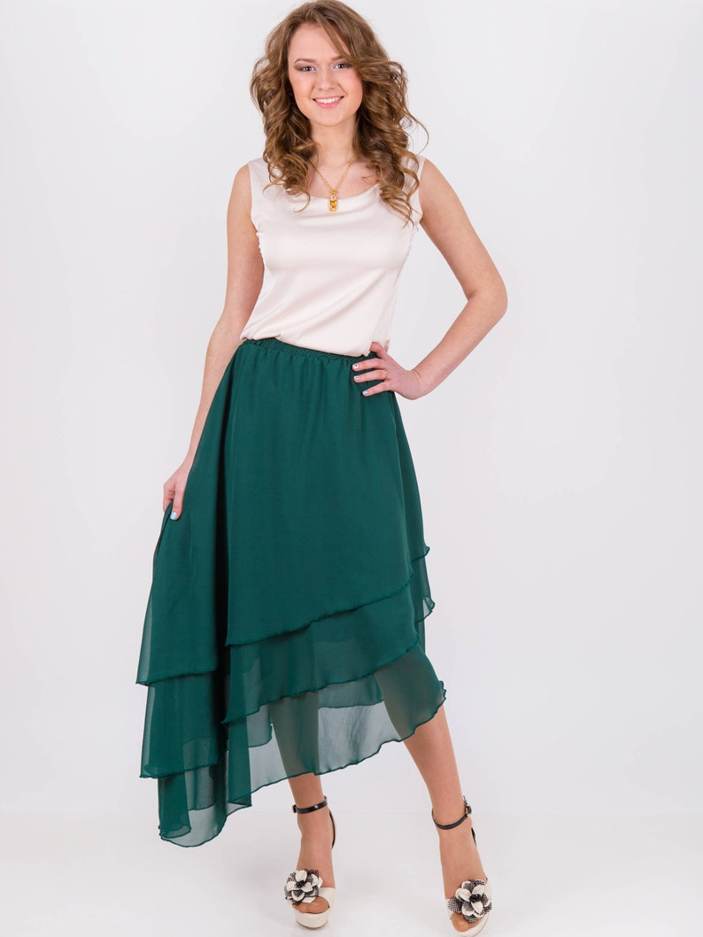 e02b89f519f2 Chiffon maxi skirt long skirts for women green skirt high | Etsy