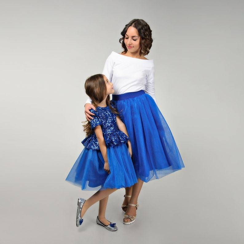 Matching royal blue adult tutu skirts and sequin tulle dress girls Mommy and me outfits