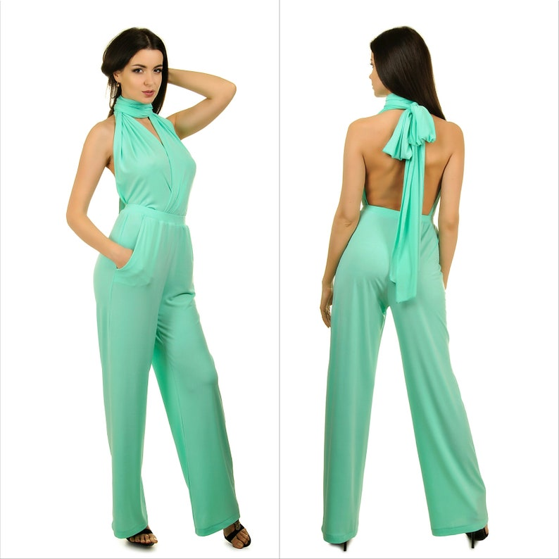 fe9fdce861a Mint green bridesmaids jumpsuit Convertible infinity wrap