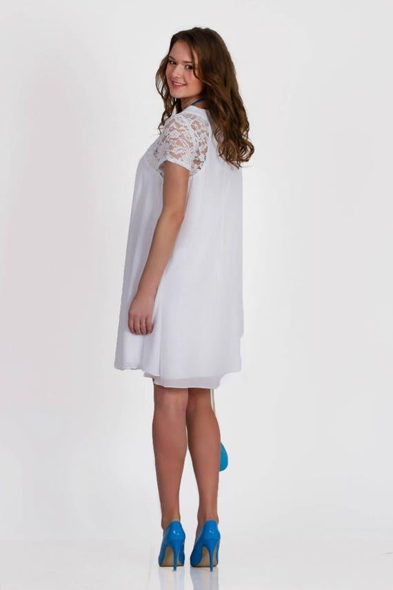 Plus size maternity dress for photo shoot white chiffon dress