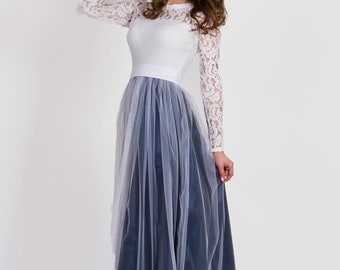 Long sleeve wedding dress,White tulle prom dress, long bridesmaid dress,Plus size lace dress, blue combo evening gown