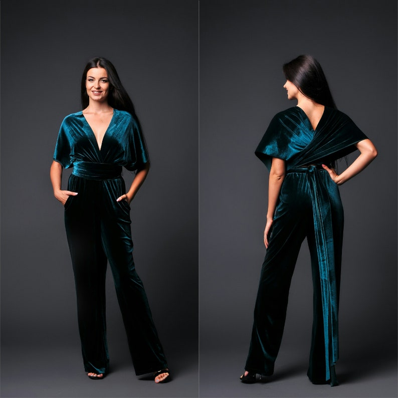 7e420f49ae7 Wedding velvet infinity jumpsuit wrap bridesmaid convertible