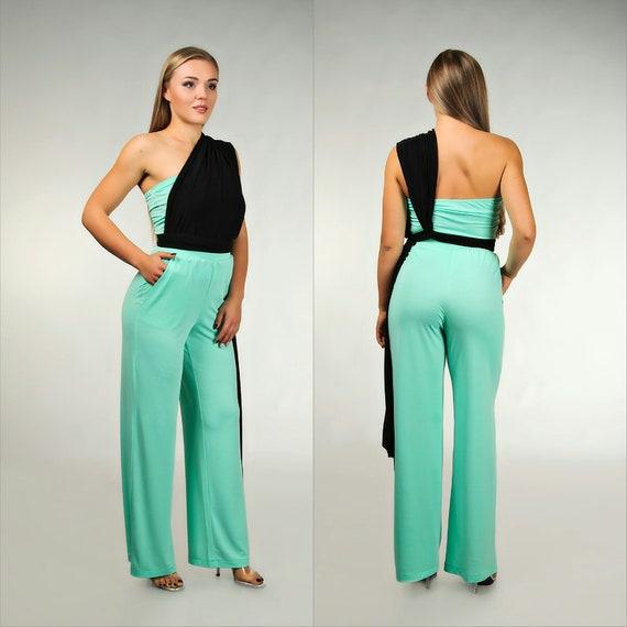 f0af2ab1dc0e Mint and black wedding jumpsuit infinity pantsuit wrap