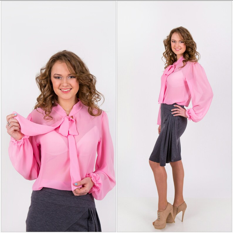 983243c3f3e Loose long sleeve blouse pink chiffon, higt neck with bow