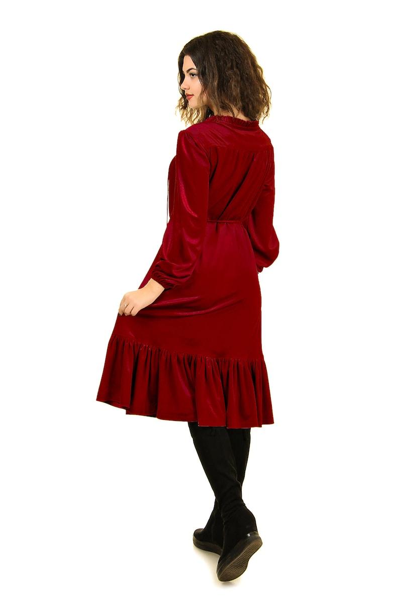 huge discount bbd9f d8a45 Vestito rosso velluto vino, drappo velluto vestito, plus size abiti da  festa per le donne, Abito da sposa guest