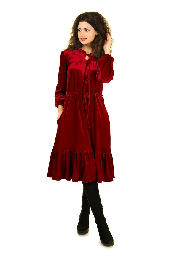 Velvet wine red dress, drape velvet dress, plus size party dresses for  women, wedding guest dress