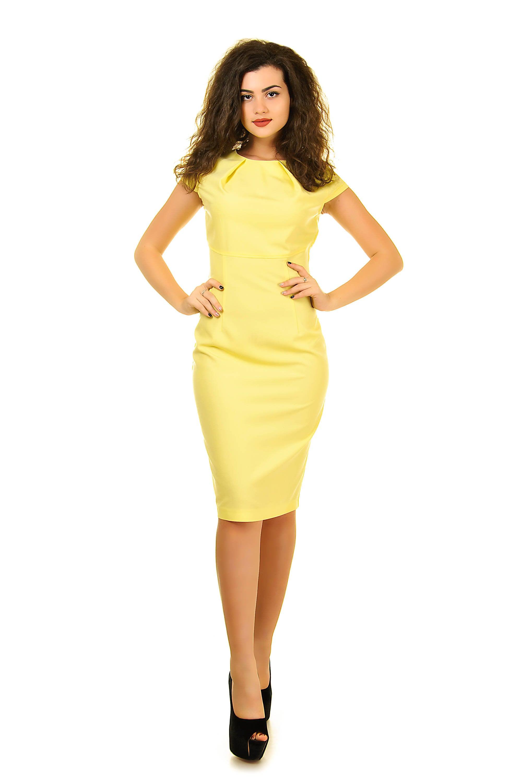 Yellow Pencil Dress Wedding Guest Dress Short Sleeve Dress Elegant Dress Fitted Dress