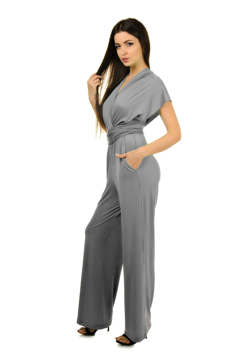 60981beee80 Grey jersey wedding jumpsuit women convertible bridesmaid