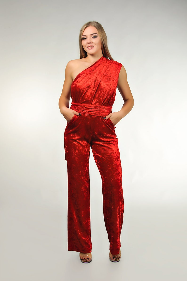 e834048ca4491 Red velvet wedding infinity jumpsuit, convertible bridesmaid jumpsuit