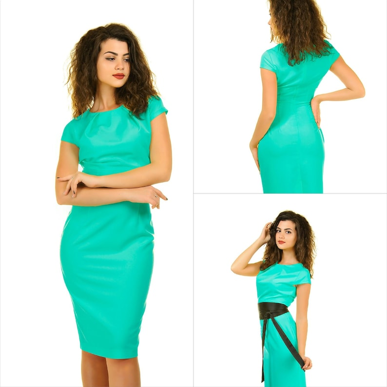 8c5fee2b01e Turquoise dress pencil dress wedding guest dress cap sleeve