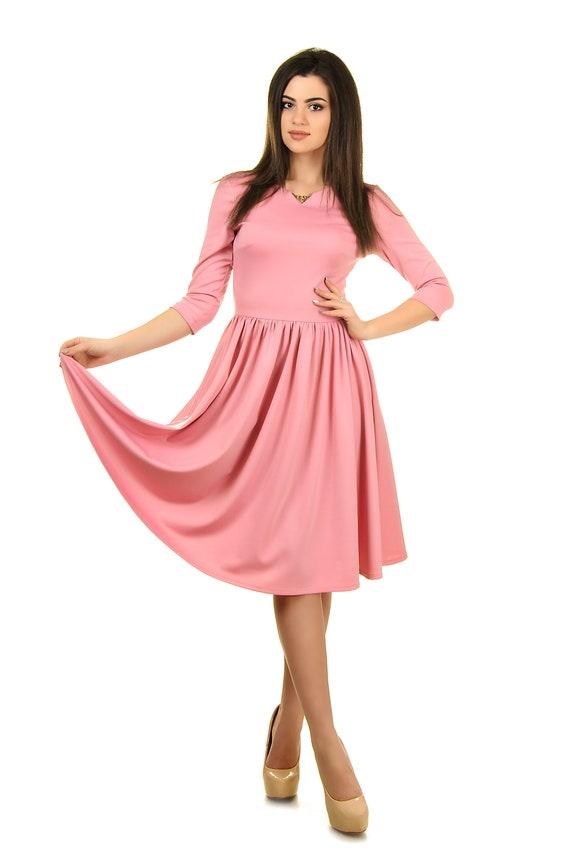 Modest bridesmaid long sleeve wedding guest dress knee length | Etsy