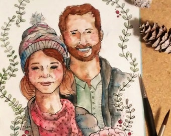 11x14 Detail Family Portrait - Custom made, Hand painted