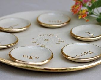 Seder Plate, Passover Plate, White and Gold Passover Plate, Ceramic Plates, Jewish Holidays, Jewish Wedding Gifts, Handmade Pottery