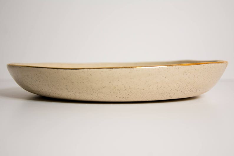 READY TO SHIP Pottery Serving Platter with Gold Rim White Pottery Plates White Ceramic Large Plate Stoneware Plates