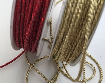 Metallic cord, glitter, christmas inspo, crafts, sparkle, gift wrapping, red, gold,