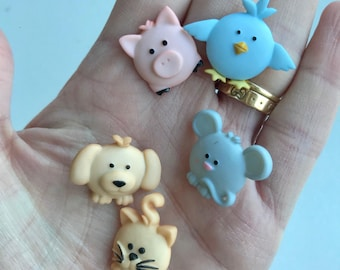 Farmyard animal buttons, Dress it up buttons, pack of buttons, character buttons, kids sewing, crafts, sewing essentials