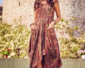 809970c20 Boho Maxi Dress, Sleeveless Summer Dress, Dress With Pockets, Long Asymmetrical  Dress, Festival Clothing
