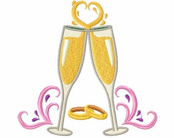 Wedding Champagne - Champagne Toast Collection #04 - Machine Embroidery Design