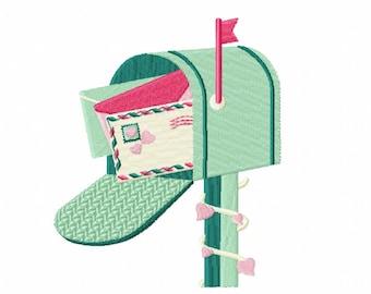 Love Letter in Mailbox - Machine Embroidery Design - Valentine #07