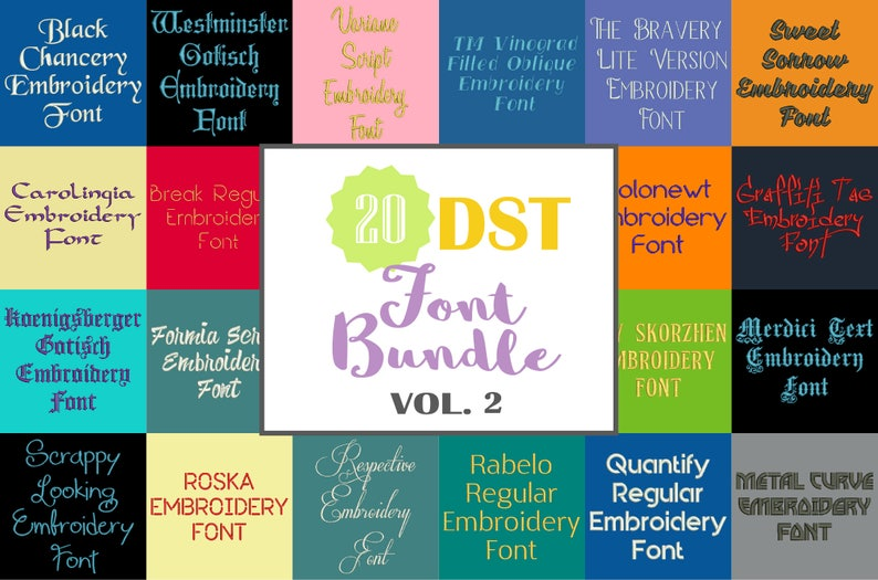 a2639aa7fc2fa Machine Embroidery Fonts - 20 DST Font Bundle - Volume 2