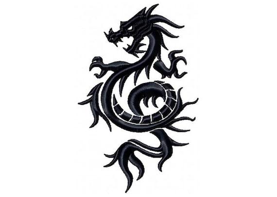 Machine Embroidery Design Dragon Tattoo Tribal Dragon 1