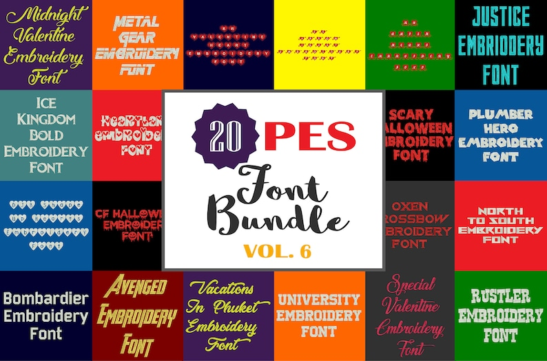 0a49d4ecf43e2 Machine Embroidery Fonts - 20 PES Font Bundle - Volume 6 - 20 Brother -  Babylock fonts!