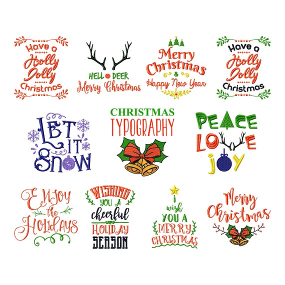Christmas Sayings Collection of 11 Machine Embroidery Designs | Etsy