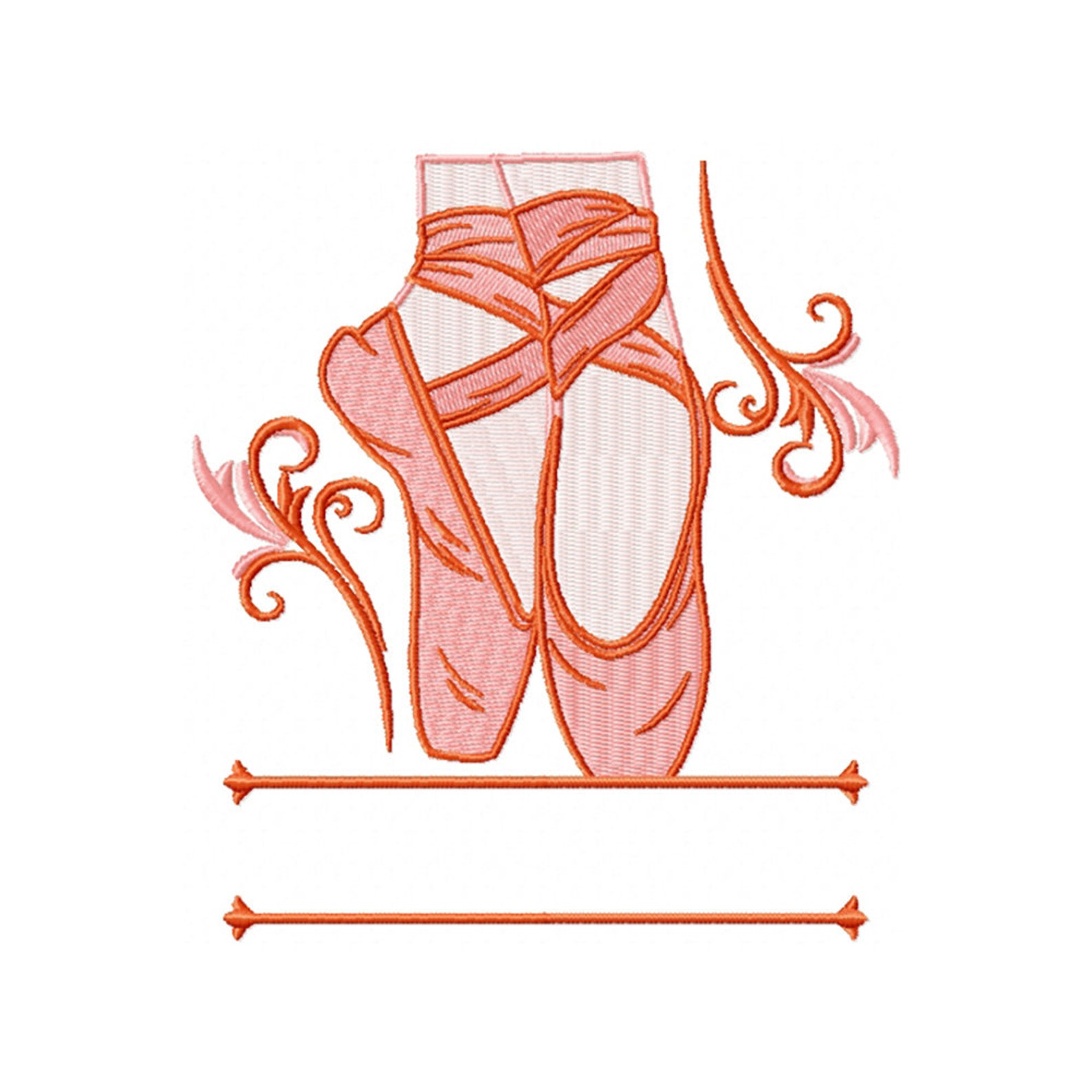 machine embroidery design - ballet shoes monogram #02