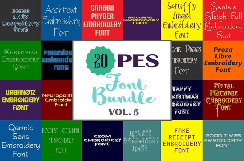 3cff8f3e4908a Machine Embroidery Fonts - 20 PES Font Bundle - Volume 5 - 20 Brother -  Babylock fonts!