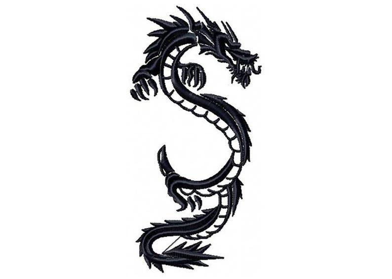 cf72f5384 Machine Embroidery Design Chinese Dragon Tattoo Tribal | Etsy