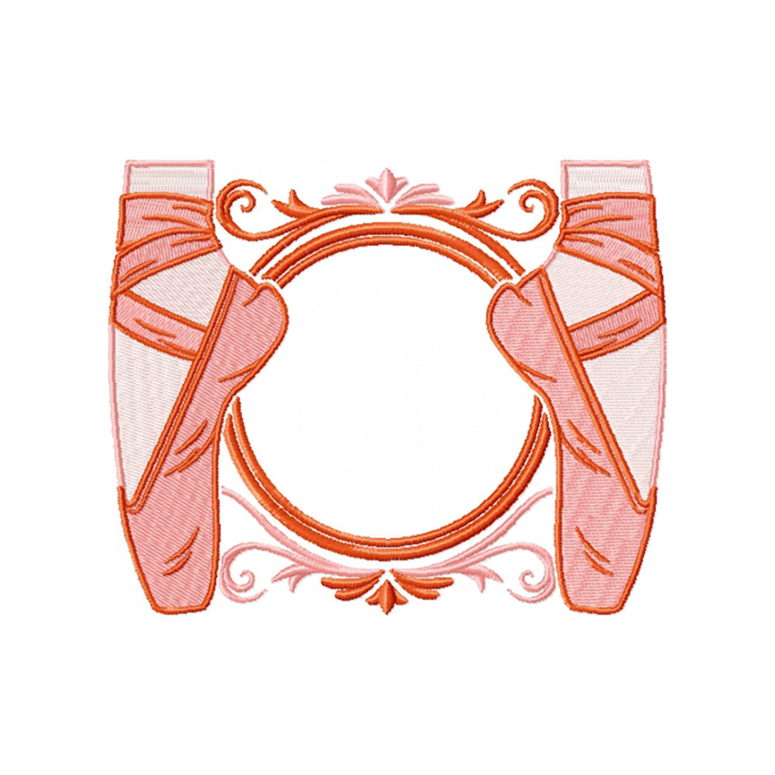 machine embroidery design - ballet shoes monogram #01