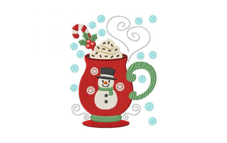 In The Hoop Machine Embroidery Design - ITH Mug Rug Sweet Snowman Drink