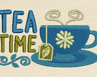In The Hoop Machine Embroidery Design - Tea Time ITH Mug Rug