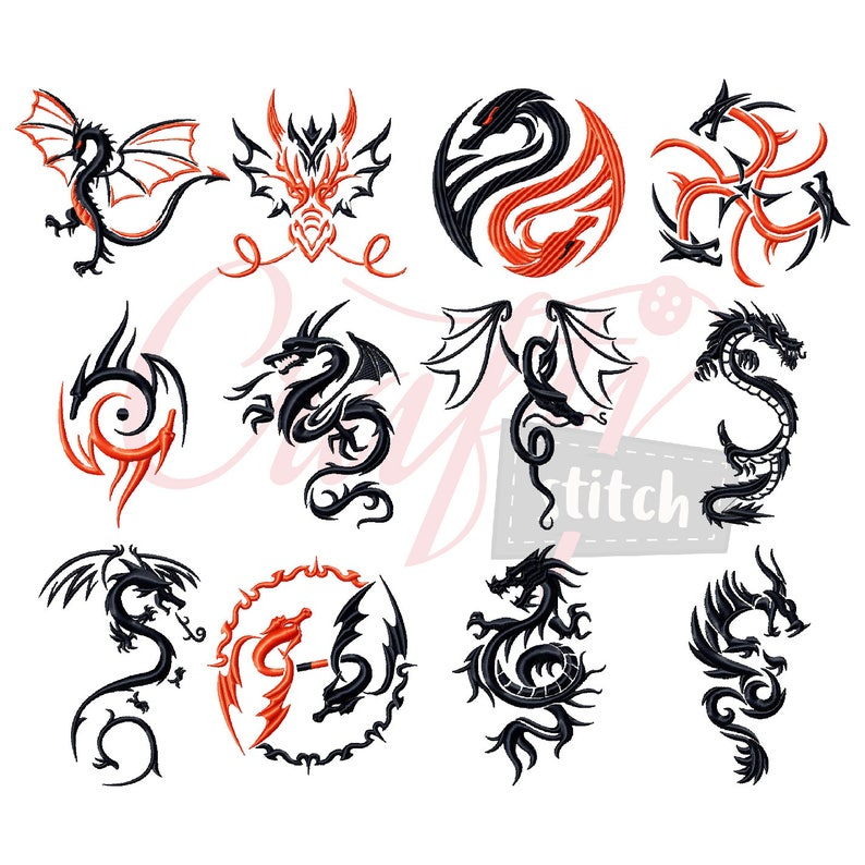 9450f0b2c66a4 Machine Embroidery Designs Tribal Dragon Collection of 12 | Etsy