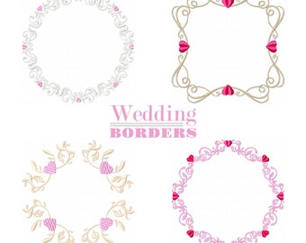 Machine Embroidery Designs - Wedding Borders Collection of 4