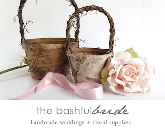 Wedding decorations etsy two sizes bohemian wedding rustic flower girl basket bohemian wedding decor flower girl basket birch farmhouse chic barn wedding junglespirit Image collections
